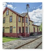 Ely Vermont Train Station Fleece Blanket