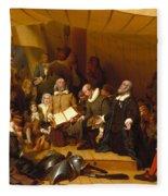 Embarkation Of The Pilgrims Fleece Blanket