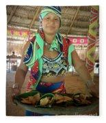 Embera Indian Lady Serving A Meal Fleece Blanket