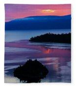 Emerald Bay Sunrise Portrait Fleece Blanket