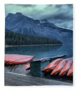 Emerald Lake Canoes Fleece Blanket