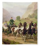 Emperor Franz Joseph I Of Austria Being Driven In His Carriage With His Wife Elizabeth Of Bavaria I Fleece Blanket