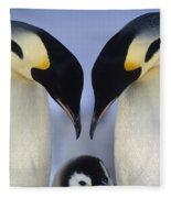 Emperor Penguin Family Fleece Blanket