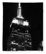 Empire State B W  Fleece Blanket