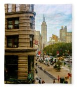 Empire State Building - Crackled View Fleece Blanket