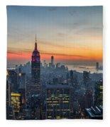 Empire State Sunset Fleece Blanket