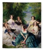 Empress Eugenie Surrounded By Her Ladies In Waiting Fleece Blanket