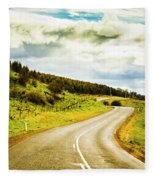 Empty Asphalt Road In Countryside Fleece Blanket
