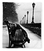 Empty Benches In The Snow Fleece Blanket