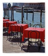Empty Canal Side Tables Awaiting Hungry Customers In Venice, Italy  Fleece Blanket