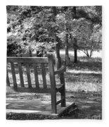 Empty Park Bench Fleece Blanket