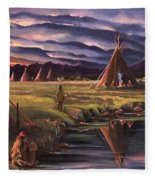 Encampment At Dusk Fleece Blanket