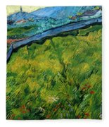 Enclosed Wheat Field With Rising Sun, By Vincent Van Gogh, 1889, Fleece Blanket