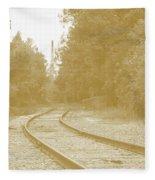 End Of The Rail-sepia Fleece Blanket