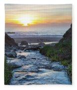 End Of The Road - Creek Runs Into Pacific Ocean At Big Sur Fleece Blanket