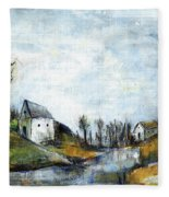 End Of Winter - Acrylic Landscape Painting On Cotton Canvas Fleece Blanket