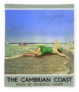 England Cambrian Coast Vintage Travel Poster Fleece Blanket