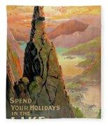 England Lake District Vintage Travel Poster Fleece Blanket