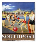 England Southport Restored Vintage Travel Poster Fleece Blanket