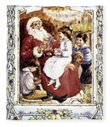 English Christmas Card Fleece Blanket