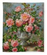 English Elegance Roses In A Silver Vase Fleece Blanket