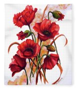 English Poppies 2 Fleece Blanket