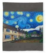English Village In Van Gogh Style Fleece Blanket