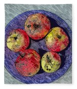 Engraved Wormy Apples Fleece Blanket