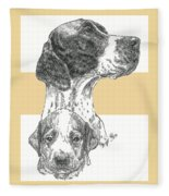 English Pointer And Pup Fleece Blanket