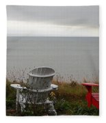 Red, White And View Fleece Blanket