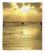 Enjoying The Beach At Sunset Fleece Blanket