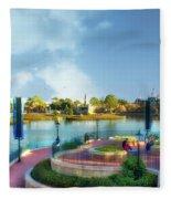 Enjoying The Shade World Showcase Lagoon Walt Disney World Fleece Blanket