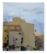 Entering Cefalu In Sicily Fleece Blanket