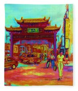 Entrance To Chinatown Fleece Blanket