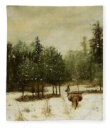 Entrance To The Forest In Winter Fleece Blanket