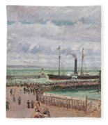 Entrance To The Port Of Le Havre And The West Breakwaters Fleece Blanket