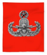 Eod Master Badge Emblem On Red Fleece Blanket