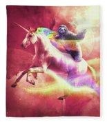 Epic Space Sloth Riding On Unicorn Fleece Blanket