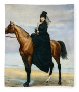 Equestrian Portrait Of Mademoiselle Croizette Fleece Blanket