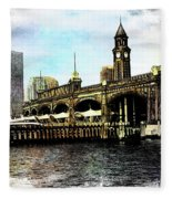 Erie Lakawanna Ferry And Train Station Fleece Blanket