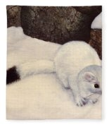 Ermine In Winter Fleece Blanket