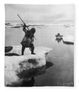 Eskimo Fishermen Fleece Blanket