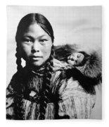 Eskimo Woman And Child Fleece Blanket