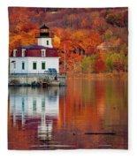 Esopus Lighthouse In Late Fall #2 Fleece Blanket