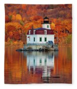 Esopus Lighthouse In Late Fall #3 Fleece Blanket