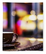Espresso Coffee Cup In Cafe At Night Fleece Blanket