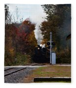 Essex Steam Train Coming Into Fall Colors Fleece Blanket