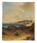 Estepona Beach With The View Of The Rock Of Gibraltar Fleece Blanket