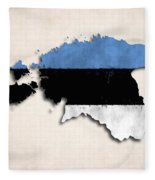 Estonia Map Art With Flag Design Fleece Blanket