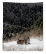 Ethereal Barn In Winter Fleece Blanket